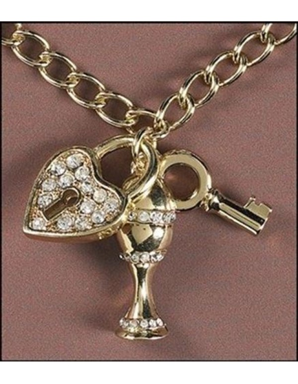 1st Holy Communion Diamante Chalice, key & Locket Pendant & Chain