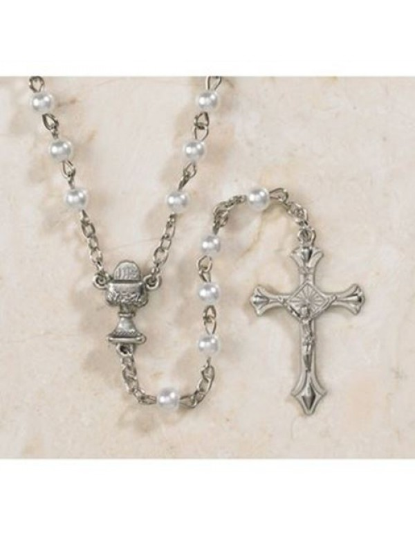 1st Holy Communion Faux Pearl Rosary with lace organza bag