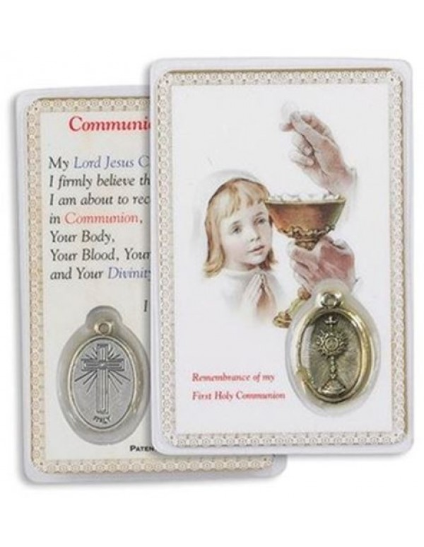 1st Holy Communion Holy Card & Medal - Girl
