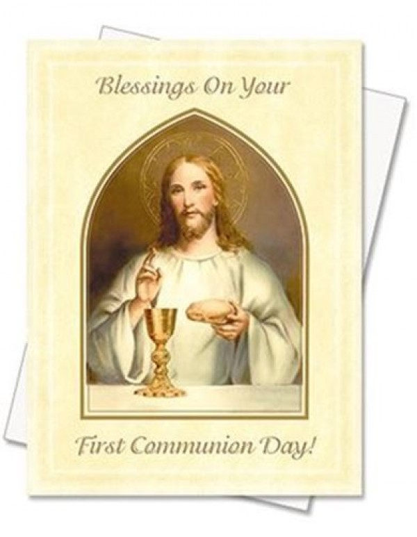 1st Holy Communion Jesus & Chalice Greeting Card