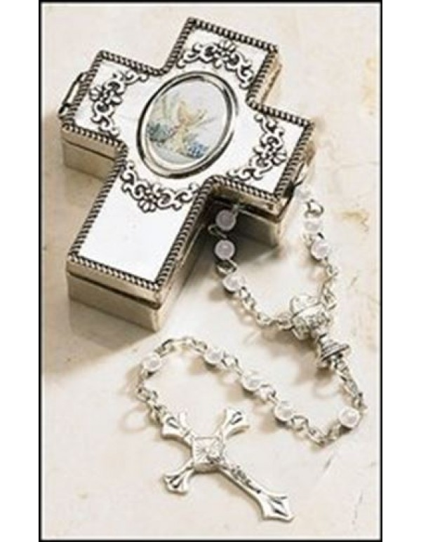 1st Holy Communion Rosary  in cross gift magnetic box