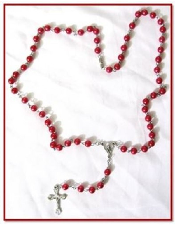 4mm red faux Pearl necklace Rosary