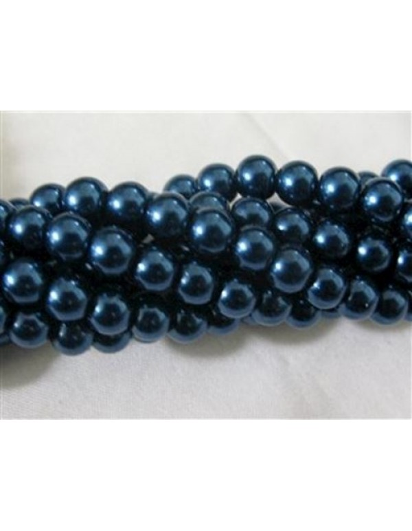 6mm faux Royal Blue Glass Pearls(60)