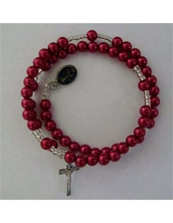 6mm Red faux pearl acrylic Bracelet  Rosary