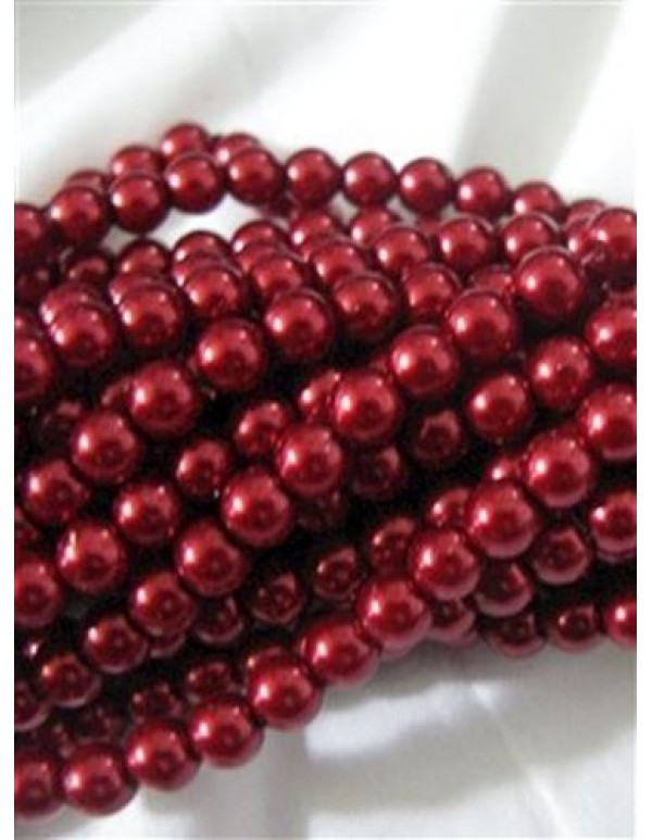 6mm Ruby Red Faux Pearl Glass Beads (60)