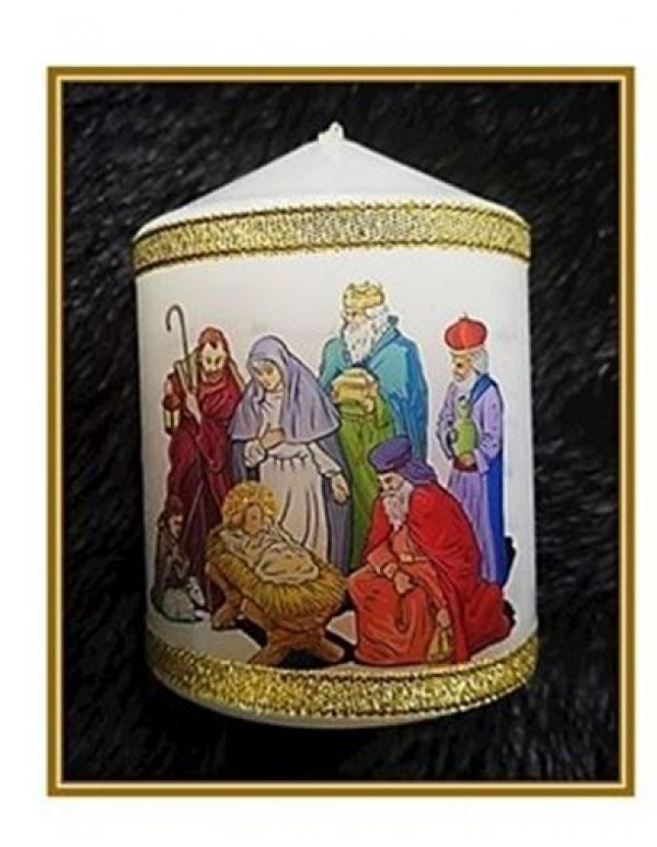 7 x 9 cm Christmas Nativity  Candle / Candle Card
