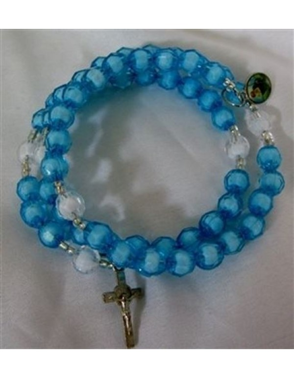 8mm faceted Blue & White Memory Wire Bracelet Rosary