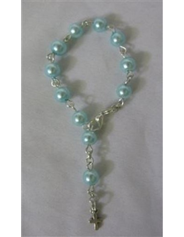 Baby/Child One Decade Rosary Bracelet - Blue faux pearl