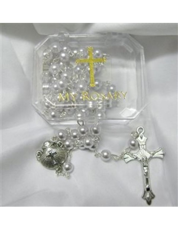 Baptism faux pearl rosary - silver