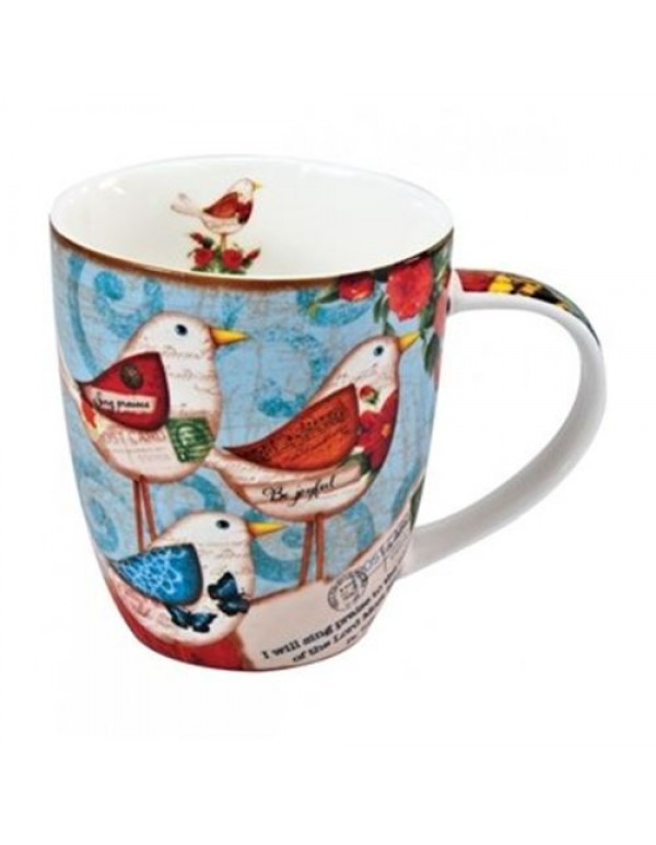 Bird Ceramic Mug - I will sing praises to the name of the Lord Most High