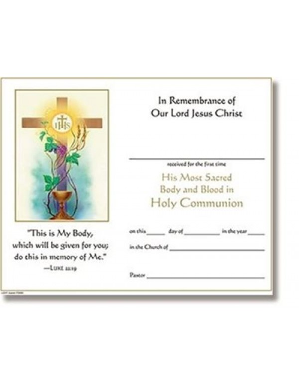 Blessed Memories 1st Holy Communion Certificate