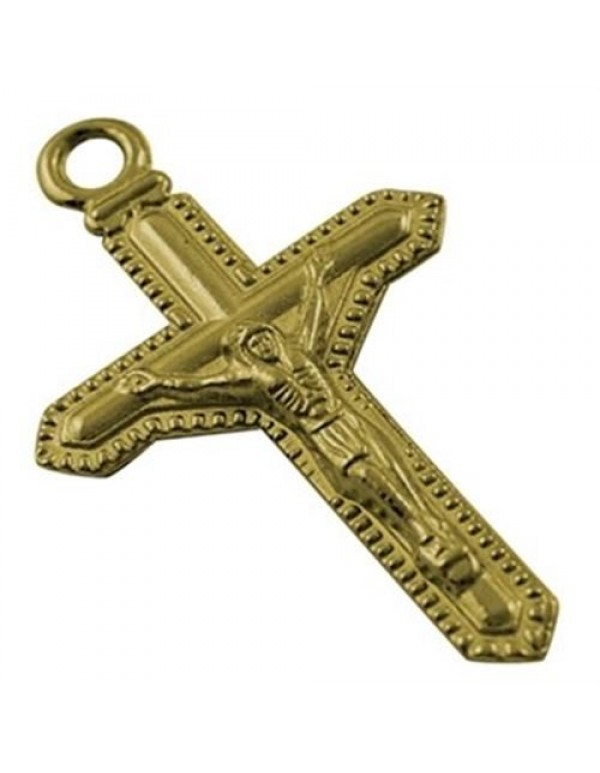 Bordered two sided Crucifix - gold