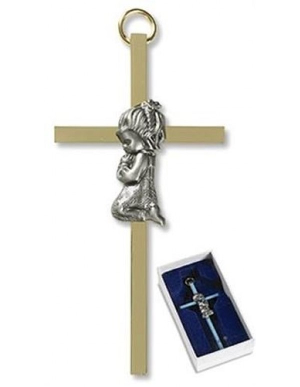 Brass & Pewter praying girl 10cm cross