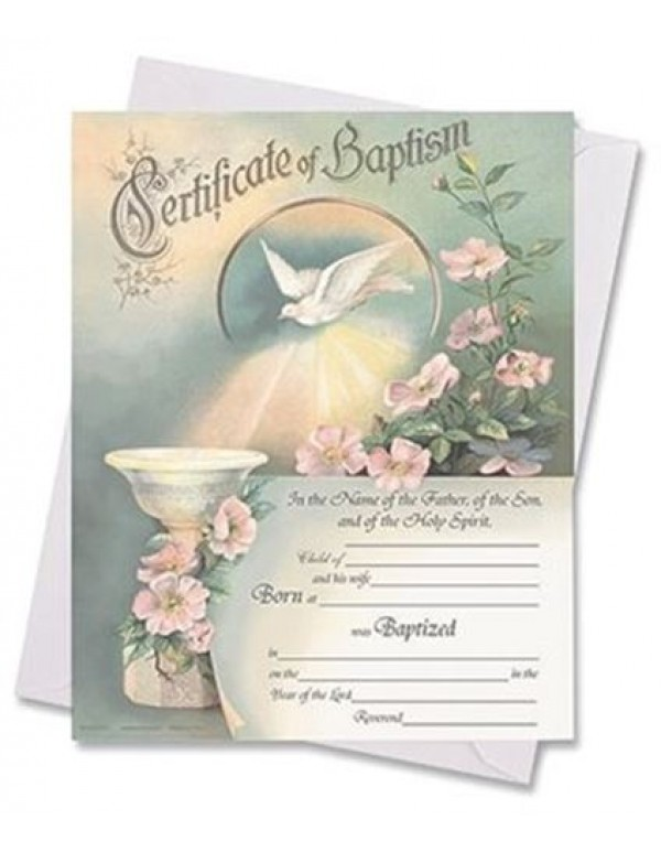 Certificate of Baptism with Envelope - In the Name of the Father, of the Son & of the Holy Spirit