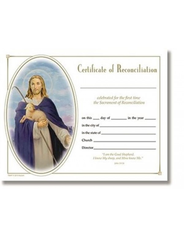 Certificate of Reconciliation - Lamb of God