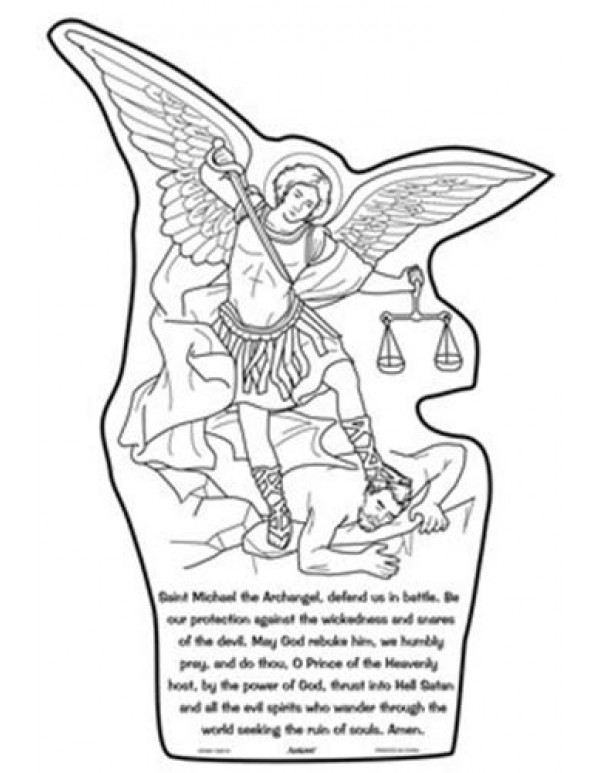 Colour your own St Michael the Archangel Prayer