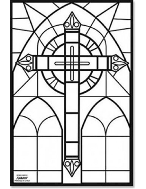 Colour your own Stained Glass Fuzzy Poster