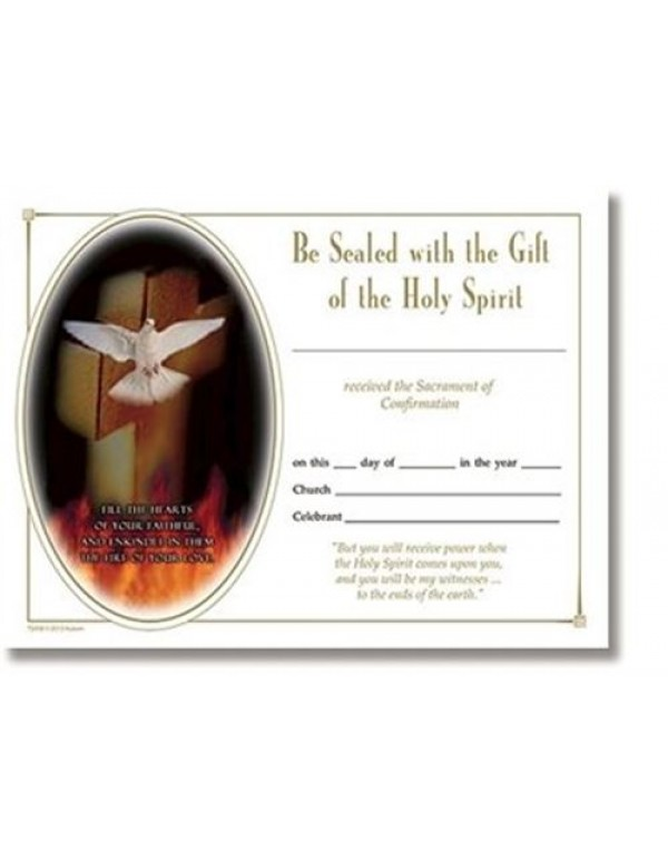 Confirmation Certificate - Be Sealed with the Gift of the Holy Spirit