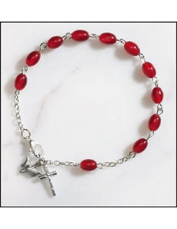 Confirmation Chain one decade bracelet with Dove & Crucifix pendant