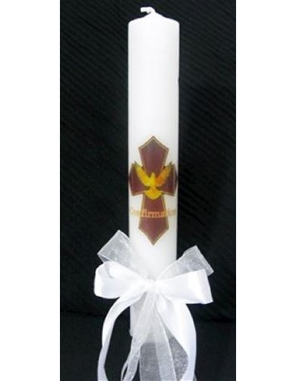 Confirmation Dove Cross candle