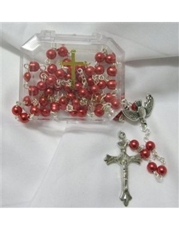 Confirmation faux pearl rosary