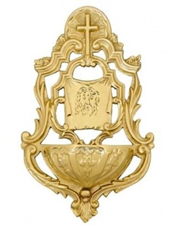 Cross / Ecce Homo Solid brass Holy Water Font