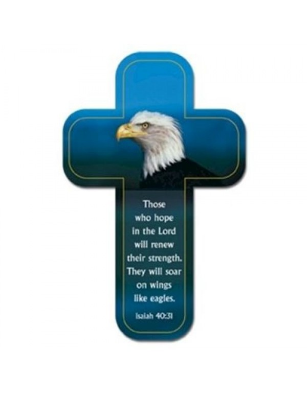 Cross Magnet - Those who hope in the Lord will renew their strength.  They will soar on wings of eagles Isaiah 40:31
