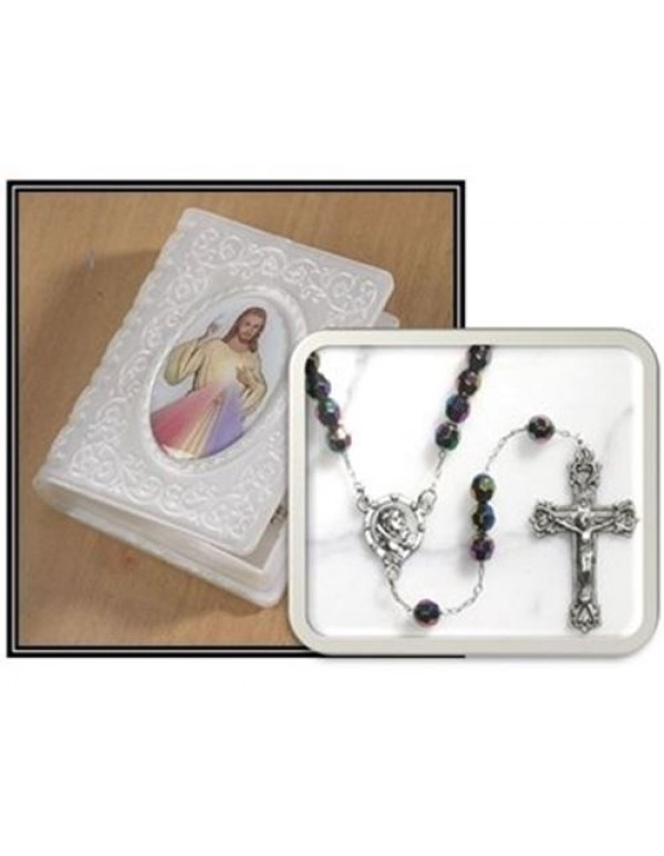 Divine Mercy Book Case with Black Glide Rosary