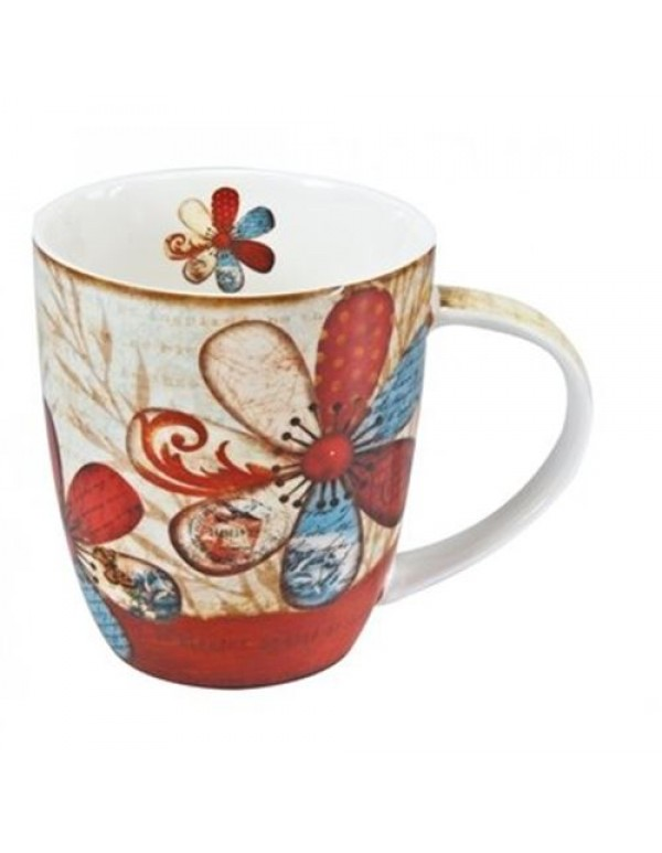 Floral Ceramic Mug - Joy Springs from a Grateful Heart