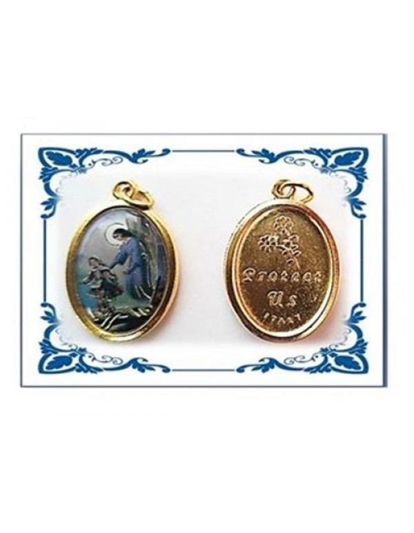 Guardian Angel Colour with golden accents -  Gold Plated Medal