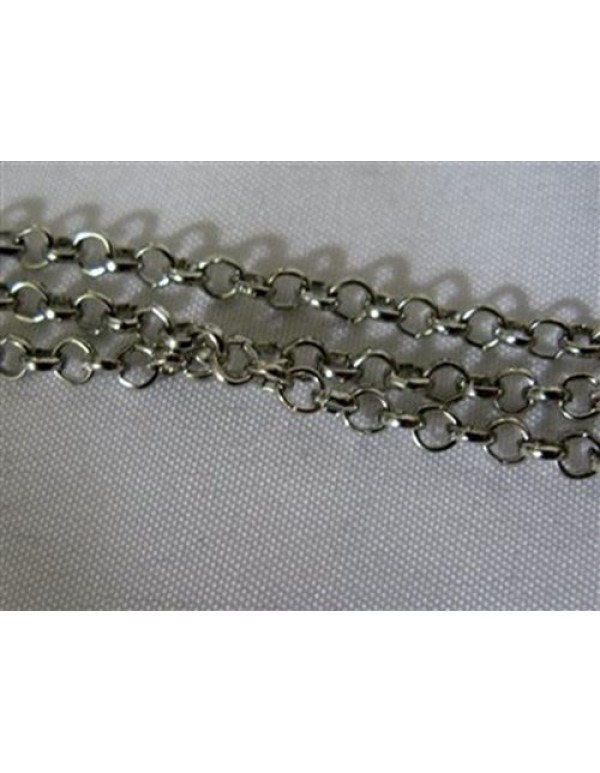 Nickel Plated 3mm link chain -1 meter
