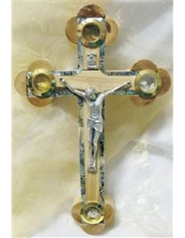 Olivewood / Holy Land crucifix with green mother of pearl on borders & 4 holy items