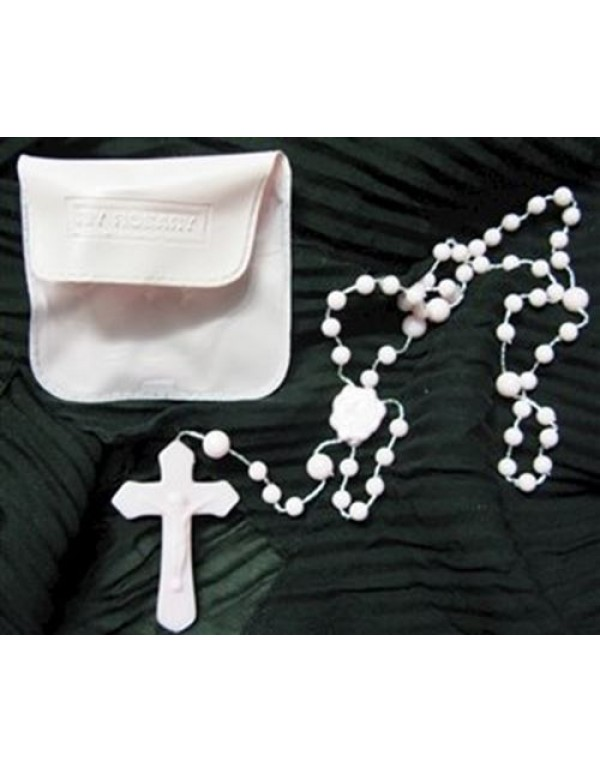 Pink cord rosary with case