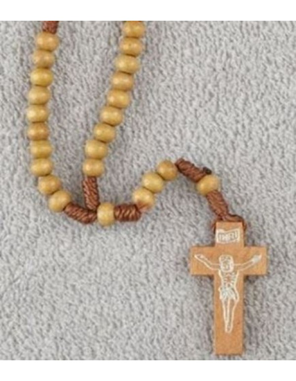 Santos Wooden Knotted Rosary - light wood