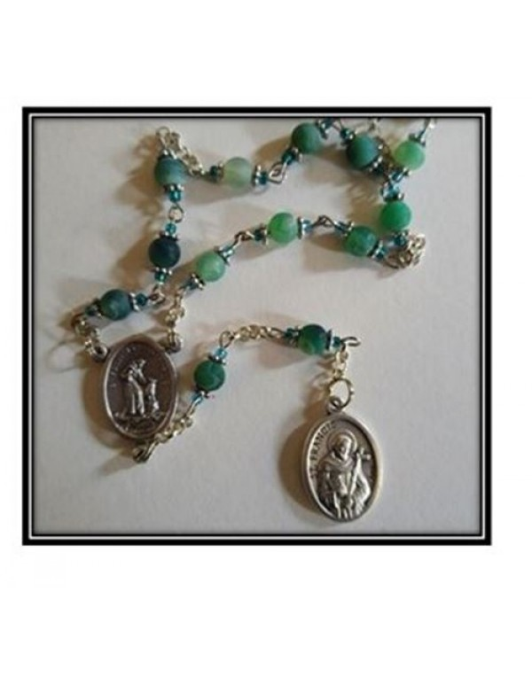 St Francis of Assisi Chaplet in frosted Green Agate