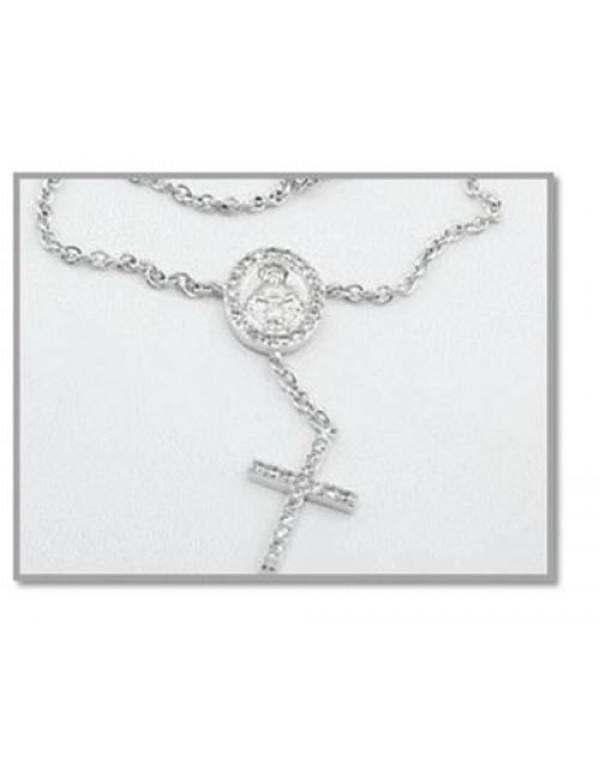 Sterling Silver Bracelet with Our Lady of Grace Medal encrusted with Cubic Zirconia Stones