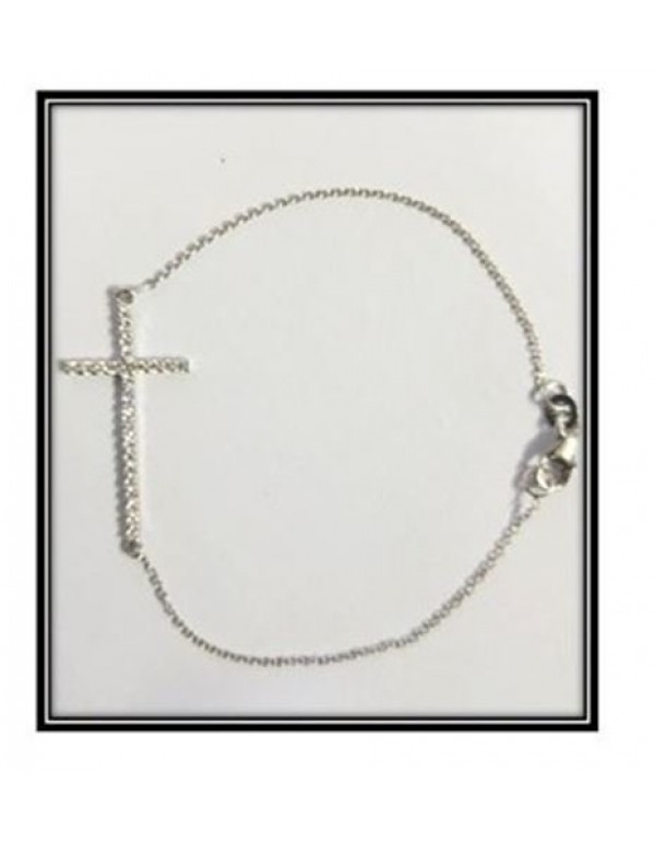 Sterling Silver chain bracelet with Cubic Zircon Cross