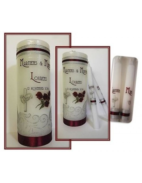 Unity Candles - Maroon & Silver
