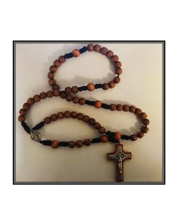 St Benedict Wooden Knotted Rosary - Patron St against evil, witchcraft