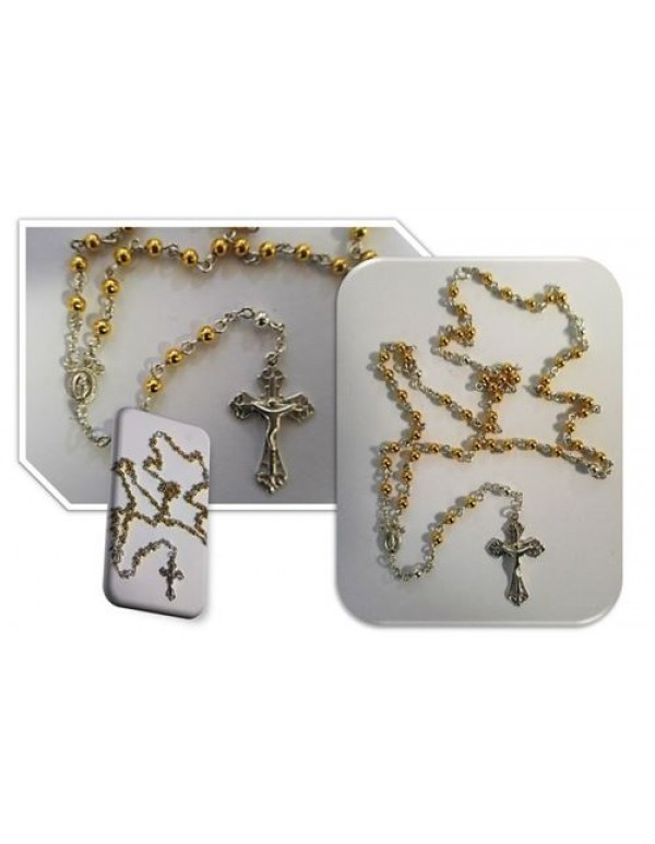 9ct Gold over Sterling Silver 4mm necklace Rosary - Two Tone