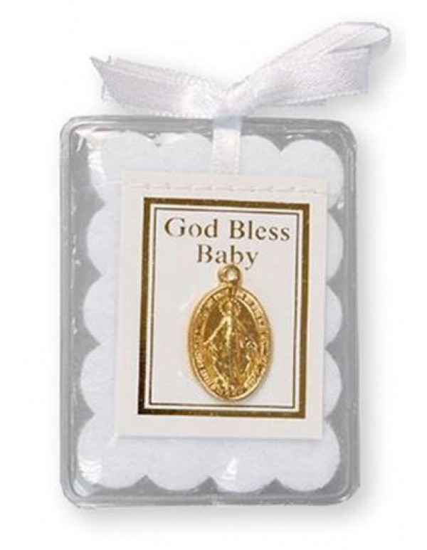 Baby Blessing with gold plated Miraculous medal - White