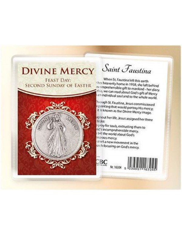 Divine Mercy Pocket/Handbag Token with Holy Card