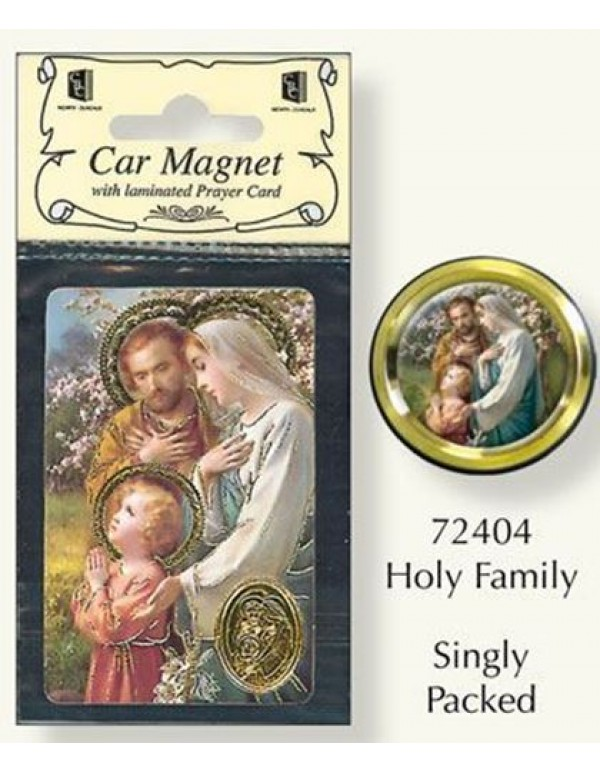 Holy Family Car Magnet & Holy Card car plaque