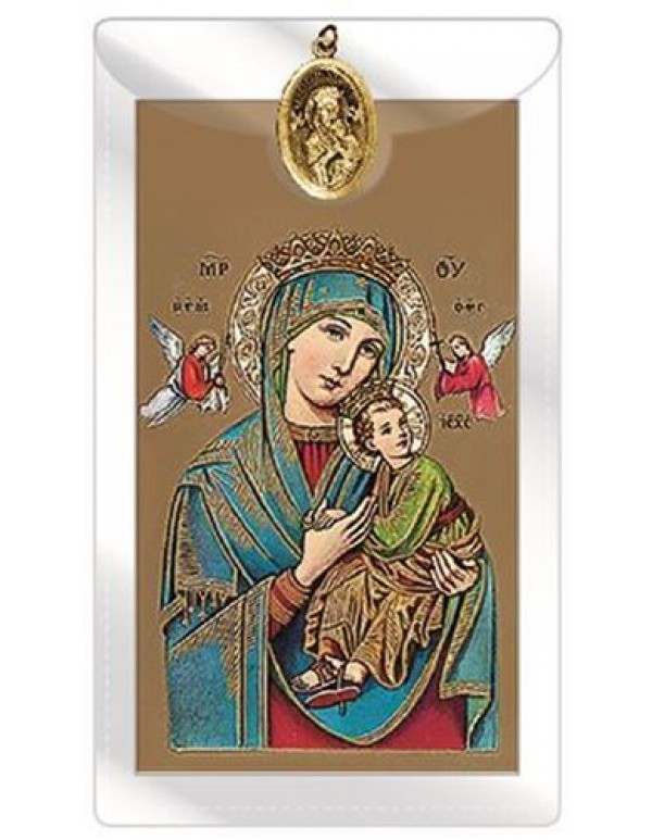 Mother of Perpetual Help gold Medal with Prayer Card