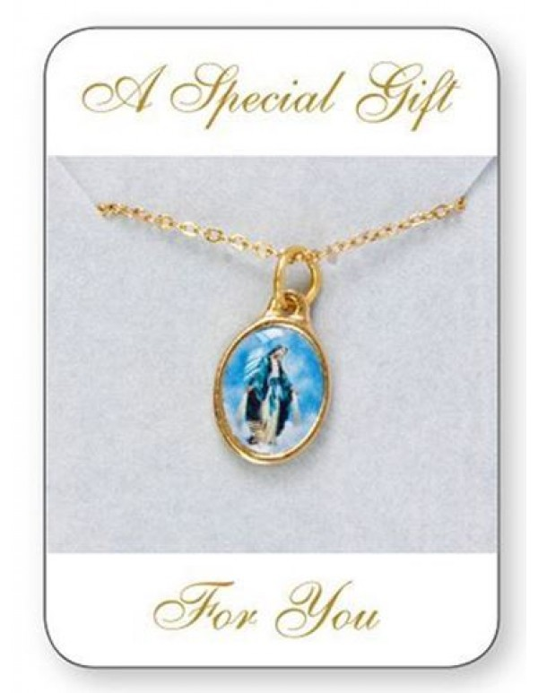 Our Lady Of Grace Gold Plated Medal and Chain