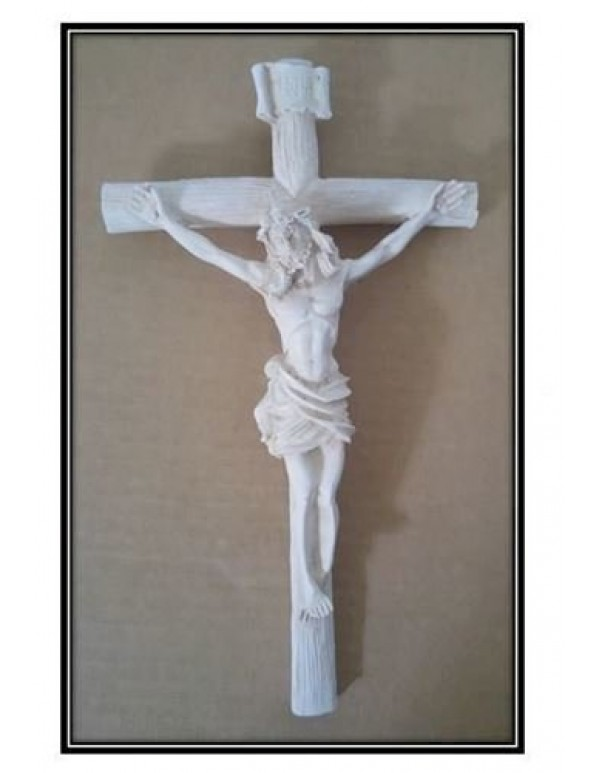21cm Antique White Crucifix