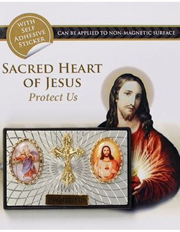 St Christopher / Crucifix / Sacred Heart Of Jesus Magnetic Car Plaque