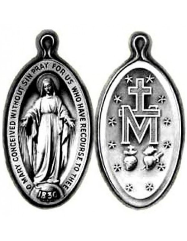 Our Lady of the Miraculous medal - silver oxidized - 2.5cm