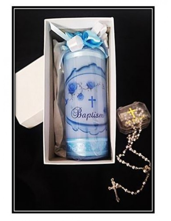 Baptism Candle Blue - 7 x 18cm with Gift box and Baptism Rosary