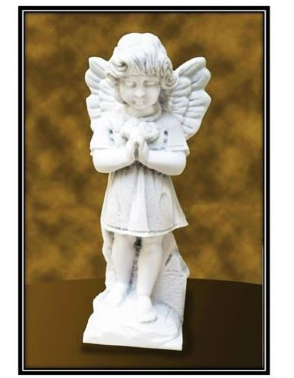 28cm Praying Girl Angel holding Flowers Marble Statue